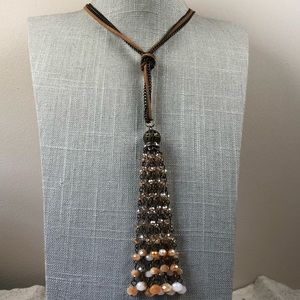 Jewelry - Boho style suede and brass crystal tassel necklace